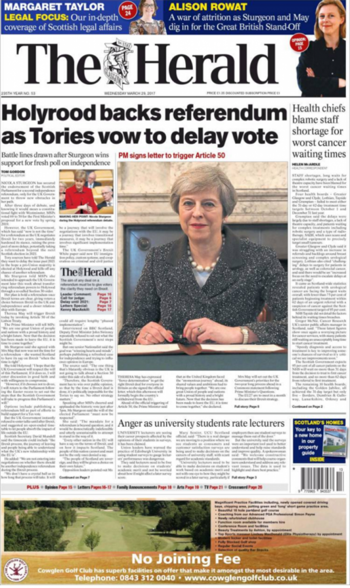 The Herald's front page