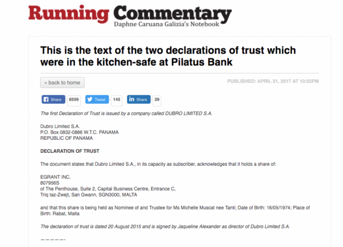 The post in which Daphne Caruana Galizia claims the declaration of trust lists Michelle Muscat as holder of a share in Egrant