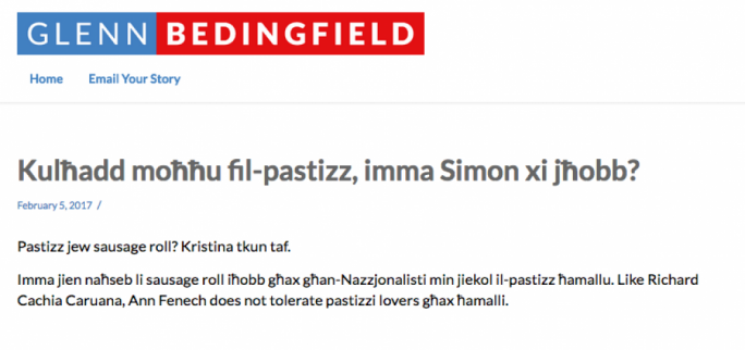 Simon Busuttil called out Glenn Bedingfield for writing 'homophobic' blogs