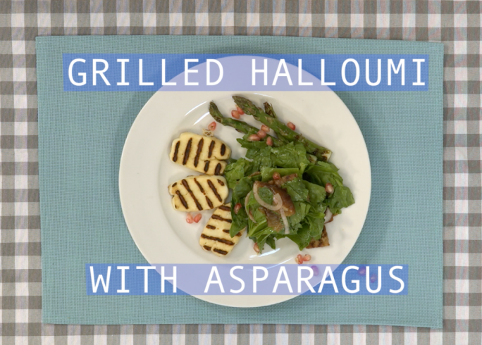 Grilled asparagus and halloumi with spinach and date salad