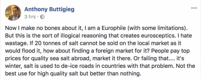 PD leader Anthony Buttigieg proposed selling the salt abroad