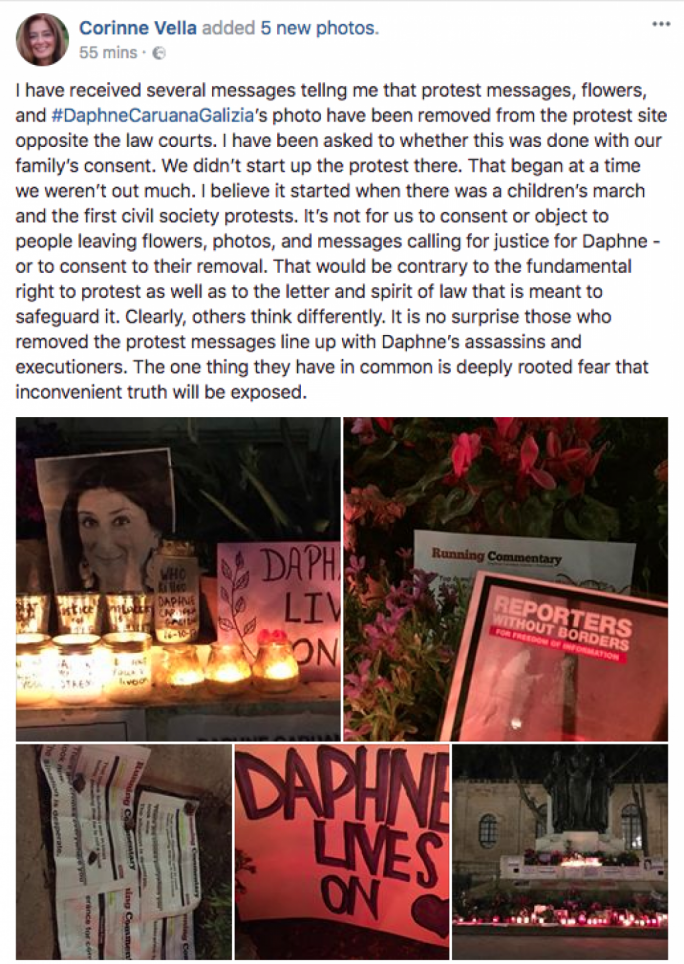 Daphne's sister, Corinne, posted on Facebook