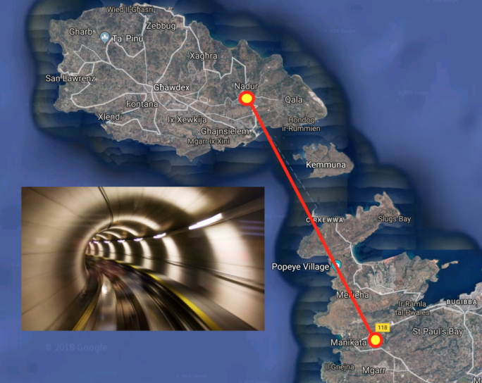 The Gozo tunnel entry points are likely to be in Manikata and Nadur