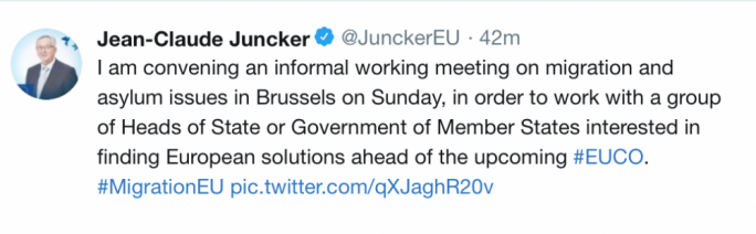 Jean-Claude Juncker's call for an informal meeting