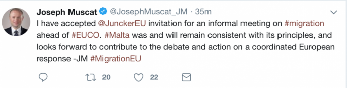 Joseph Muscat's prompt reply, accepting Juncker's invite