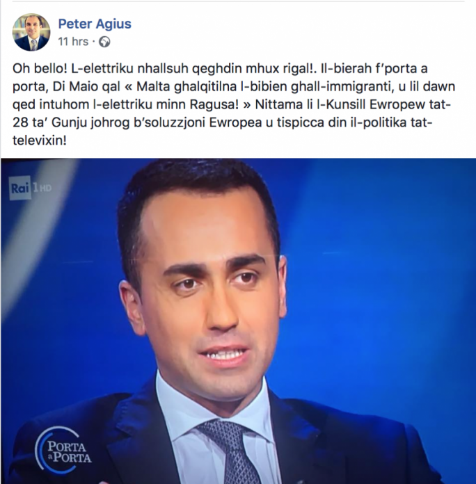 Peter Agius's Facebook post calling for a European solution to the migration crisis