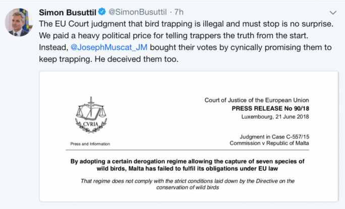 Simon Busuttil's first tweet sounding vindicated by the ECJ judgment