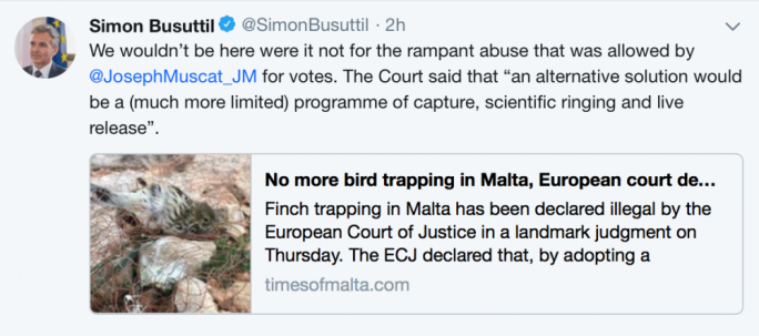 Simon Busuttil's second tweet mooting a possible solution for trappers