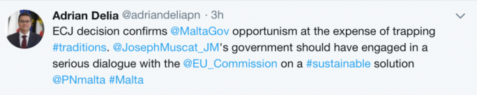 Adrian Delia's tweet calling out government's opportunism and urging for a solution