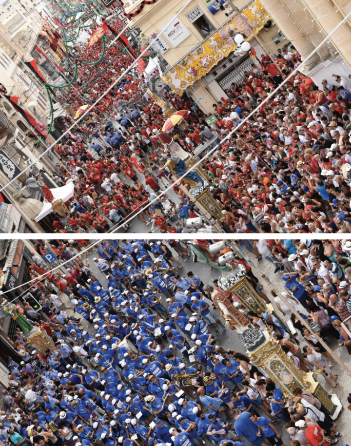 Today Hamrun turns into a sea of red and blue in one of the island's noisiest and most contested of festas
