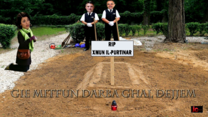 A meme, currently circulating on the internet, depicting Busuttil as being buried, with his partner in mourning and Konrad Mizzi and Keith Schembri gloating over his death