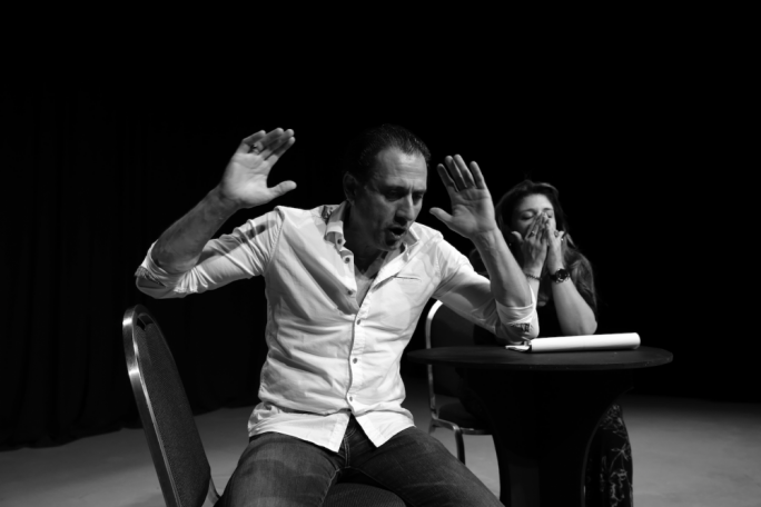 Pia Zammit (right) and Mikhail Basmadjan (left) finally face each other on stage for Stitching – the play at the centre of the Maltese censorship row back in the noughties