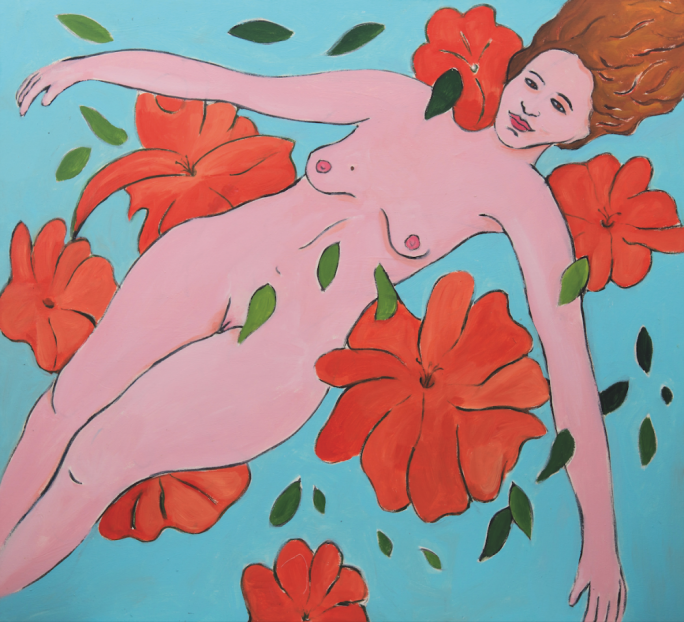 'Woman with Flowers' by Gabriel Buttigieg (105x115cm, acrylic on canvas 2018)