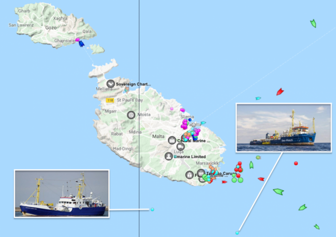 The two vessels are currently situation within Maltese territorial waters