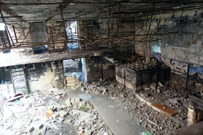 The inside of the Raffles building is totally gutted, but any development will need to retain the existing structure