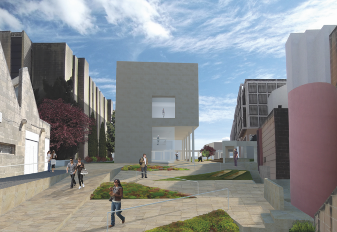 The parking area next to the library will be transformed into engineering labs and offices for post-doctoral research