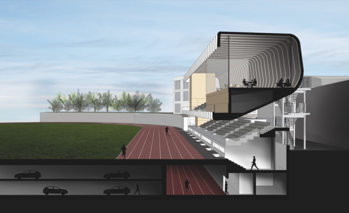 Side view of the proposed complex showing the underground car park and indoors athletics track