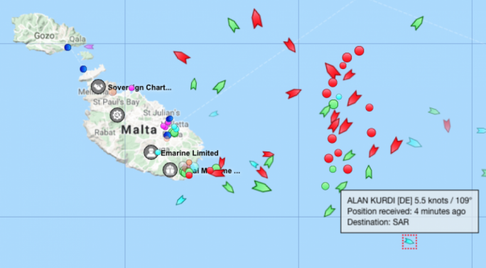 The Alan Kurdi is currently around 22 nautical miles off Malta's coast (Photo: MarineTraffic)