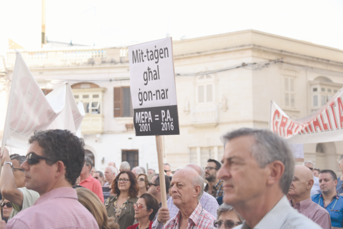 A protest in Sliema in 2016 agaist Planning Authority decisions and over-development. Sliema is the second-highest town when it comes to denied parking spaces from new developments