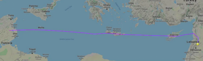 The flight path of one of the two Russian military aircraft flying to Venezuela on March 23, showing it passing through the airspace of Cyprus, Greece, and Malta
