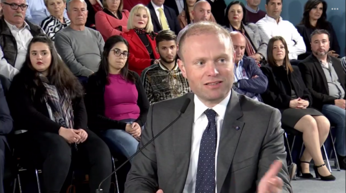 Joseph Muscat at a political event in Gzira