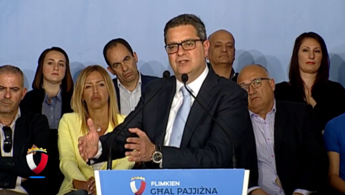 Adrian Delia at a political activity in Zejtun