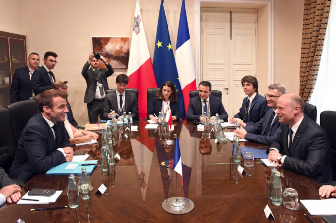 Macron and Muscat during bi-lateral meeting