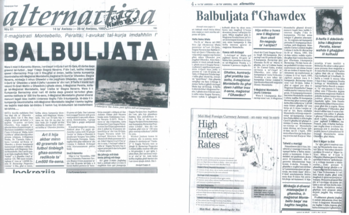1992: The story breaks - The first report on this case is in Alternattiva Demokratika's newspaper, reporting the 24-hour decision by magistrate Carol Peralta to recognise Richard Stagno Navarra as the 'rector' of the Giuspatronat  At this stage, the Church has only started its legal challenge to stop Peralta's decision  The shareholders in Berracimp transfer their shares to Jimp Ltd, which is now the controlling shareholder in the company
