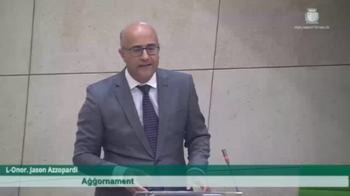 Nationalist Party MP Jason Azzopardi in Parliament