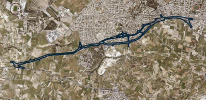 The blue line represents the extent of the Central Link project that connects the Saqqajja Hill roundabout (left) to the Mrieħel bypass (right). The road passes through Attard