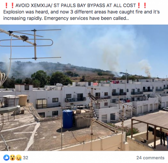 The original Facebook post read that the fires had started in Mellieha, not St Paul's Bay