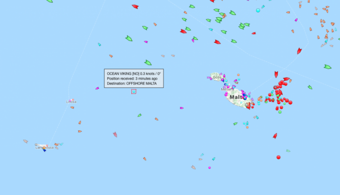 The Ocean Viking is stranded between Malta and Italy