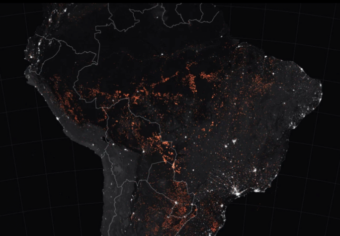 NASA satellites are tracking actively burning fires across South America, with the blazes being clearly visible at night (Photo: NASA Earth Observatory)