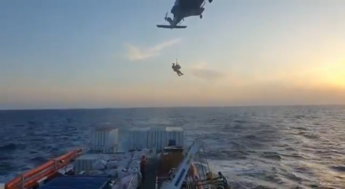 Video footage by SOS Mediterranee showing an AFM helicopter evacuating a nine month-pregnant woman