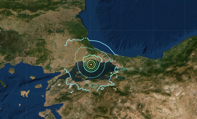 The earthqake struck in the Marmara Sea, southwest of Istanbul (Source: USGS)