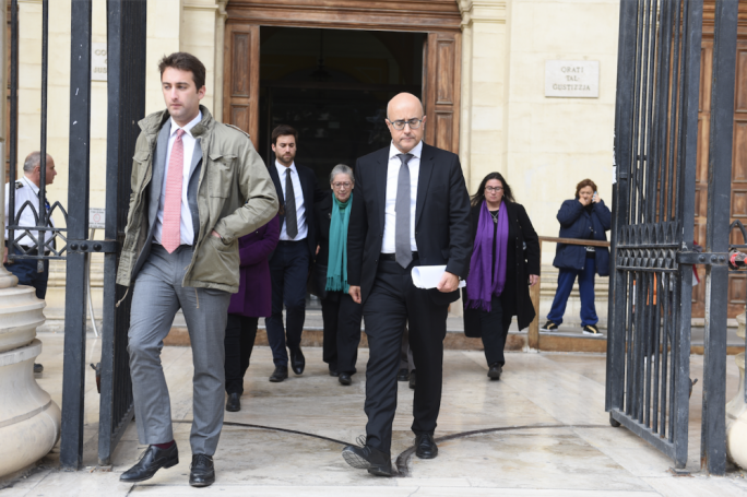 The Caruana Galizia family at the law courts with family lawyer Jason Azzopardi (Photo: James Bianchi/MediaToday)
