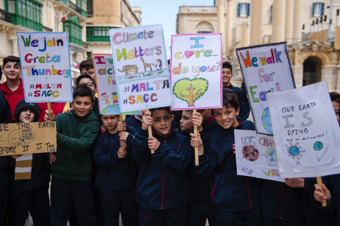 Schoolchildren of St Albert's College in Valletta were encouraged by head of school and deputy chairperson of Alternattiva Demokratika Mario Mallia to strike for the climate in March 2019