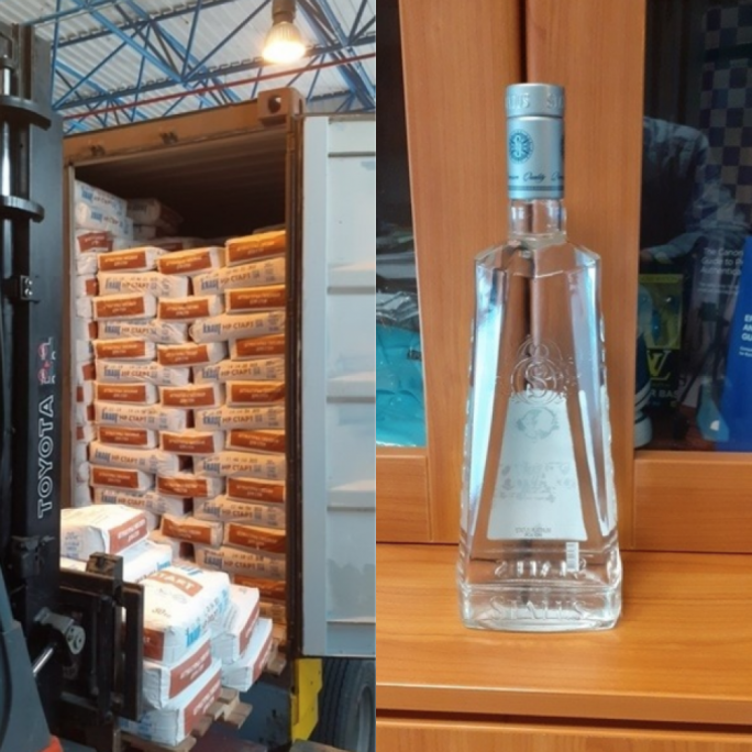 Customs have seized 9,500 bottles of contraband vodka from a container at the Freeport