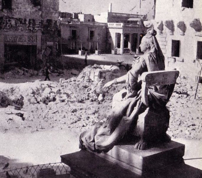 The Queen Victoria statue amid the ruins of war-torn Valletta