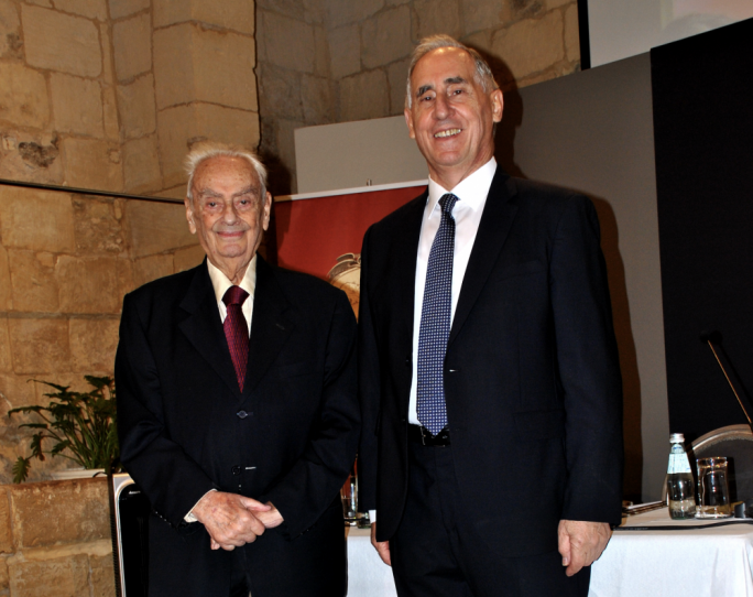 L-R: Dr Albert Ganado (President) and Joseph Schiro (Secretary) of the Malta Map Society
