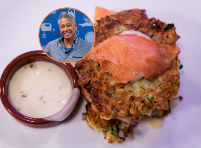 Zucchini pancakes with sour cream and smoked salmon