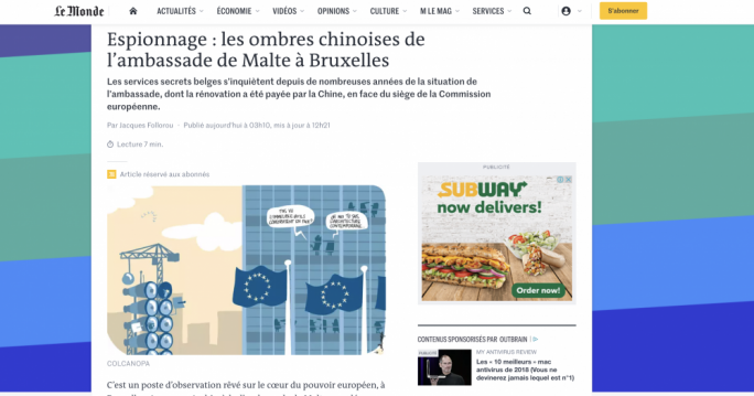 The Le Monde report, with the title Espionage: The Chinese Shadows Inside The Maltese Embassy In Brussels