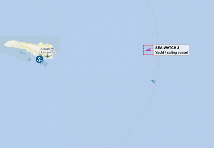 The Sea Watch 3 entered Italian territorial waters just after 2pm on Wednesday on its way to Lampedusa