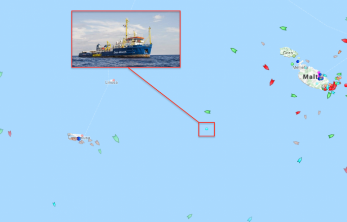 The rescue vessel was situated midway between Malta and Lampedusa as of 10 am Thursday morning