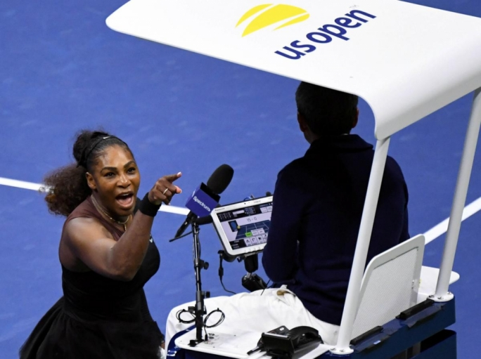 Serena Williams yelling at chair umpire Carlos Ramos