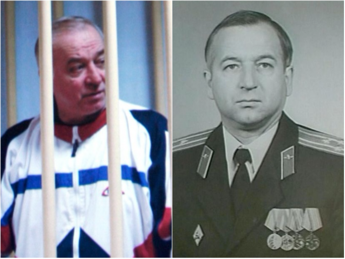 Sergei Skripal under arrest in 2004, and right, a GRU photo of the colonel who spent years in Malta as attaché with the Russian embassy