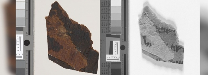The image on the left shows one of the Dead Sea Scrolls fragments held at The University of Manchester's John Rylands Library. The one on the right is a multispectral image of the same fragment revealing three lines of text in Hebrew, including the word