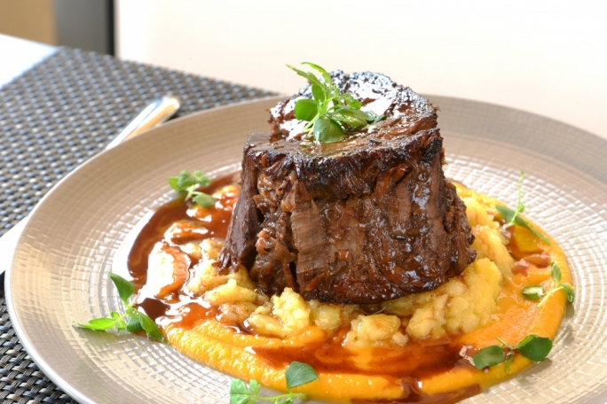 Braised shin of beef on pumpkin purée