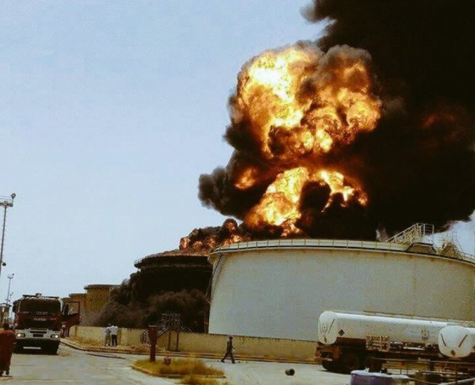 Photo posted on social media claims to be of a Sidra oil storage tanke on fire following ISIS attack