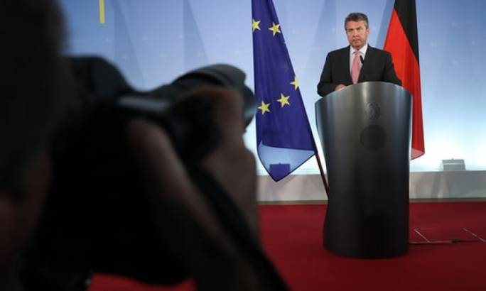 The German foreign minister, Sigmar Gabriel, speaks to the media after the arrest in Turkey of another German citizen on charges of supporting terrorism